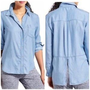 Athleta bootjack soft chambray top split back